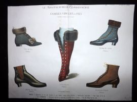 Le Moniteur de la Cordonnerie 1887 Rare Hand Colored Shoe Design Print 41